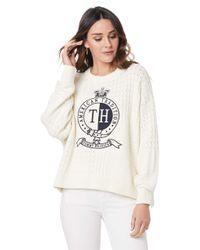 Tommy Hilfiger White Damen gemischte Patchwork Stricken Wappen Pullover Weiß