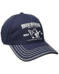 True Religion Blue Puff Buddha Cotton Baseball Cap for men