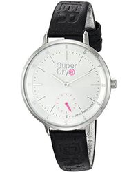 Superdry Metallic 'ascot Luxe Sub-sec' Quartz Silver-tone And Leather Casual Watch, Color:blue (model: Syl159u)
