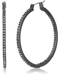 Kenneth Cole - Black Hematite Items Hematite And Crystal Medium Hoop Earrings - Lyst