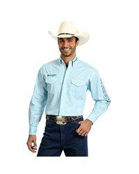 Wrangler Blue Print Logo Long Sleeve Western Shirt for men