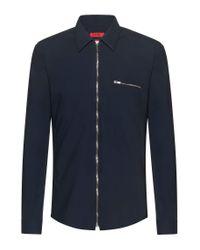 HUGO S Elmeros Extra-slim-fit Zip-through Shirt In Stretch Cotton Dark Blue for men