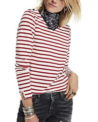 Basic Fit Breton Stripe L/S Tee T-Shirt Donna di Scotch & Soda in Multicolor