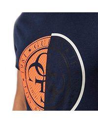 M93I37R5JK0 - Maglietta a Rete con Logo Stampato di Guess in Blue da Uomo