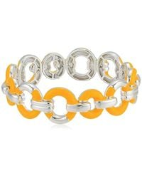 Napier Silver/yellow Link Stretch Bracelet