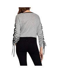 BCBGeneration Gray Ruffle Sleeve Pullover Sweater