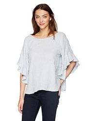 Velvet By Graham & Spencer Multicolor Alberta Linen Ruffle Shortsleeve Top