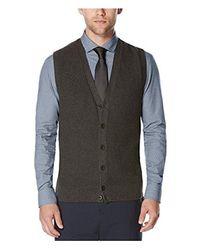 Perry Ellis Gray Solid Texture Sweater Vest for men