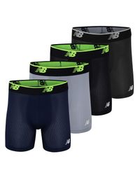 """New Balance Multicolor Ultra Soft Mesh 5"""" No Fly Boxer Briefs(4-pack Of Underwear) for men"""