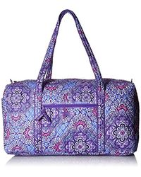 Vera Bradley Purple Large Duffel, Signature Cotton, Lilac Tapestry