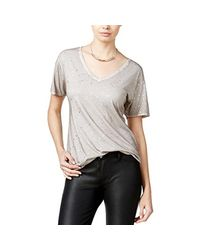 78f8effd936a Guess Short Sleeve Washed Foil V Neck Tee Shirt - Lyst