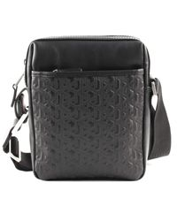 Tommy Hilfiger Black Casual Leather Emboss Mini Repor