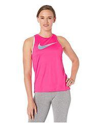 Nike Dri-fit Graphic Running Tank Hyper Pink/phantom M