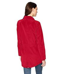 Tommy Hilfiger Red Snap Front Hooded Rain Anorak