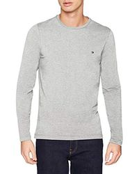 Tommy Hilfiger Gray Stretch Slim Fit Long Sleeve Tee T-shirt for men