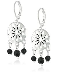 The Sak - Metallic 3 Bead Disc Silver Drop Earrings - Lyst