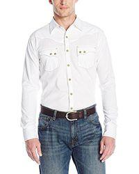 Wrangler White Retro Two Pocket Long Sleeve Snap Shirt for men
