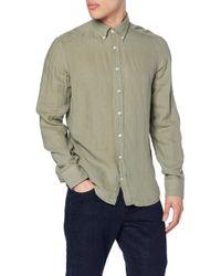 Hackett Green Gmt Dyed Linen Bs Casual Shirt for men
