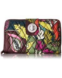 Vera Bradley Multicolor Rfid Turnlock Wallet, Signature Cotton