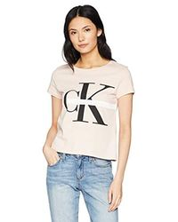 Calvin Klein Natural Short Sleeve T-shirt Monogram Logo