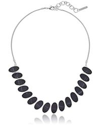 "Nine West - Metallic Silver-tone And Jet 16"" Frontal Necklace, Size 0 - Lyst"