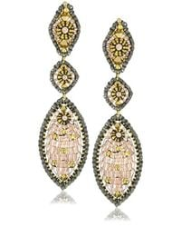 Miguel Ases - Metallic Swarovski And Rose Gold Bead Multi Marquis Drop Earrings - Lyst