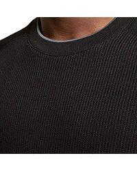 Pied Black LS Rib Knit & Jersey Maglione Girocollo di Ted Baker da Uomo