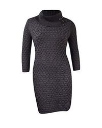 Calvin Klein - Gray Waffle Knit Turtleneck Sweater Dress - Lyst