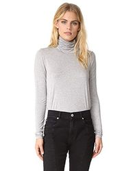 Three Dots Gray Refined Jersey Granite Long Sleeve Short Tight Top