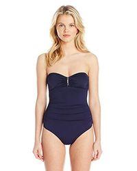 Calvin Klein Blue Bandeau Maillot One Piece Swimsuit