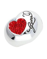 Guess Red Stainless Steel Cubic Zirconia Ring