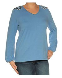 Tommy Hilfiger S Blue Long Sleeve V Neck Top Size: L