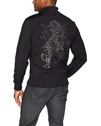 Guess Black Long Sleeve Keith Tiger Track Jacket Fleece for men