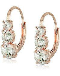 Anne Klein Metallic Rose Gold-tone Cubic Zirconia Linear Drop Earrings