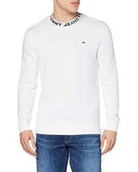 Tjm Neck Logo Sweater Maglione Uomo, Bianco (Classic White 100) XL di Tommy Hilfiger da Uomo