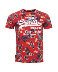Super 5 ́ T-Shirt Vintage Tropical Red XXXL Superdry pour homme