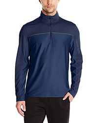CALVIN KLEIN 205W39NYC - Blue Long Sleeve Quarter Zip Texture Blocking Knit for Men - Lyst