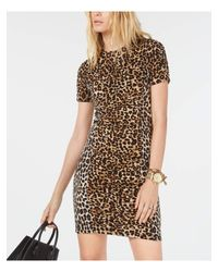 Michael Kors Natural S Beige Animal Print Short Sleeve Crew Neck Short Body Con Dress