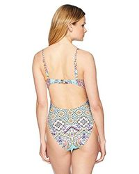 Kenneth Cole Reaction Multicolor Lace Front One Piece Swimsuit