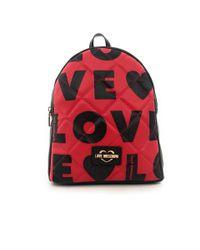 Moschino Borsa donna Love zaino in ecopelle trapuntata rosso/nero B20MO57 di Love Moschino in Black