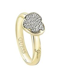 Guess Metallic Ubr72502 Gold Heart Fashion Jewellery Ring Size Crystal Jewelry Set For