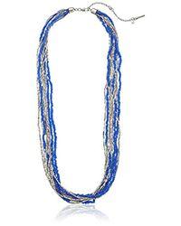 "Kenneth Cole - Blue Pop Art Silver Bead Multi-row Long Necklace, 24"" - Lyst"