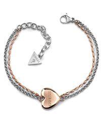 Bracelet Devinez Unchain My Heart acier inoxydable chirurgical plaqué or rose logo UBB78103-S [AC1125] Guess en coloris Multicolor