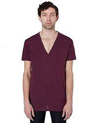 American Apparel Purple Tri-blend Deep V-neck Short Sleeve T-shirt for men