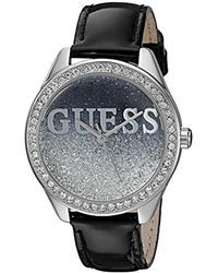 Guess - Metallic U0823l2 Trendy Silver-tone Watch With Black Dial, Crystal-accented Bezel And Genuine Leather Strap Buckle - Lyst