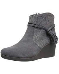Crocs™ Gray S Leigh Suede Mix Wedge Bootie