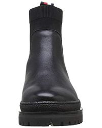 Tommy Hilfiger Black Corporate Ribbon Chelsea Ankle Boots