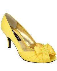 Nina Yellow Forbes Satin Peep-toe Pump