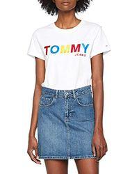 Donna T-SHIRT T-shirt Maniche corte elastico in vita Bianco (Bright White 113) Small (Taglia Produttore: W34/L30) di Tommy Hilfiger