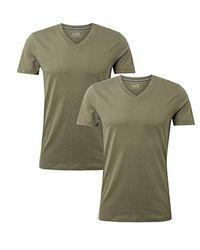 Tom Tailor Herren T-Shirt double pack v-neck/407 in Green für Herren